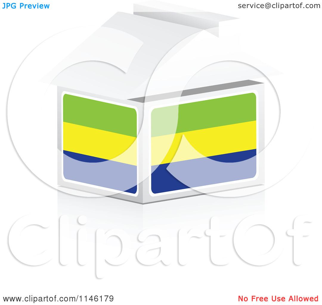 Clipart of a 3d Gabon Flag House.