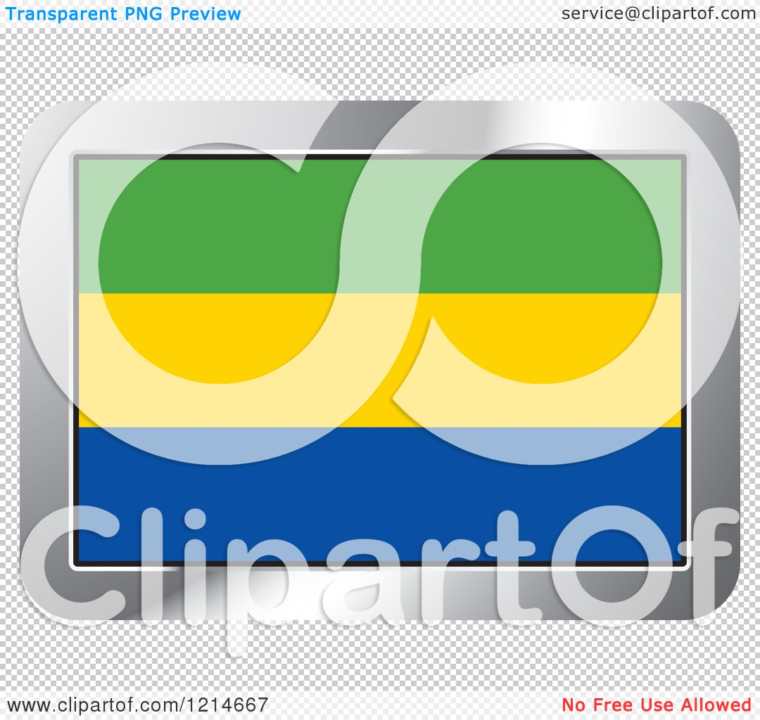 Clipart of a Gabon Flag and Silver Frame Icon.