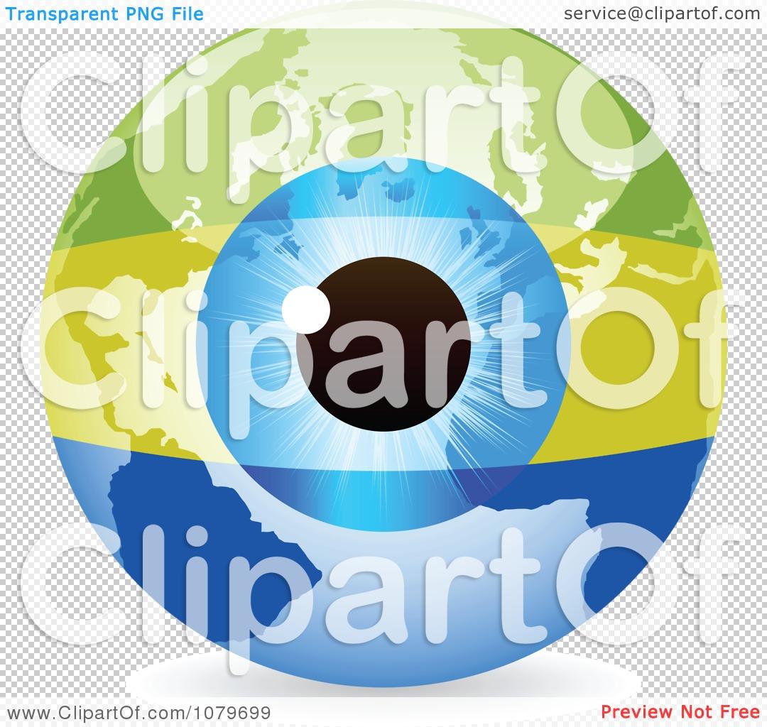 Clipart Blue Eye On A Gabon Flag Globe.