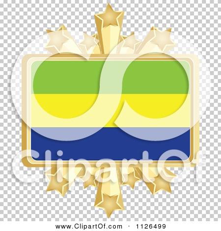 Clipart Of A Gabon Flag With A Golden Stars Frame.