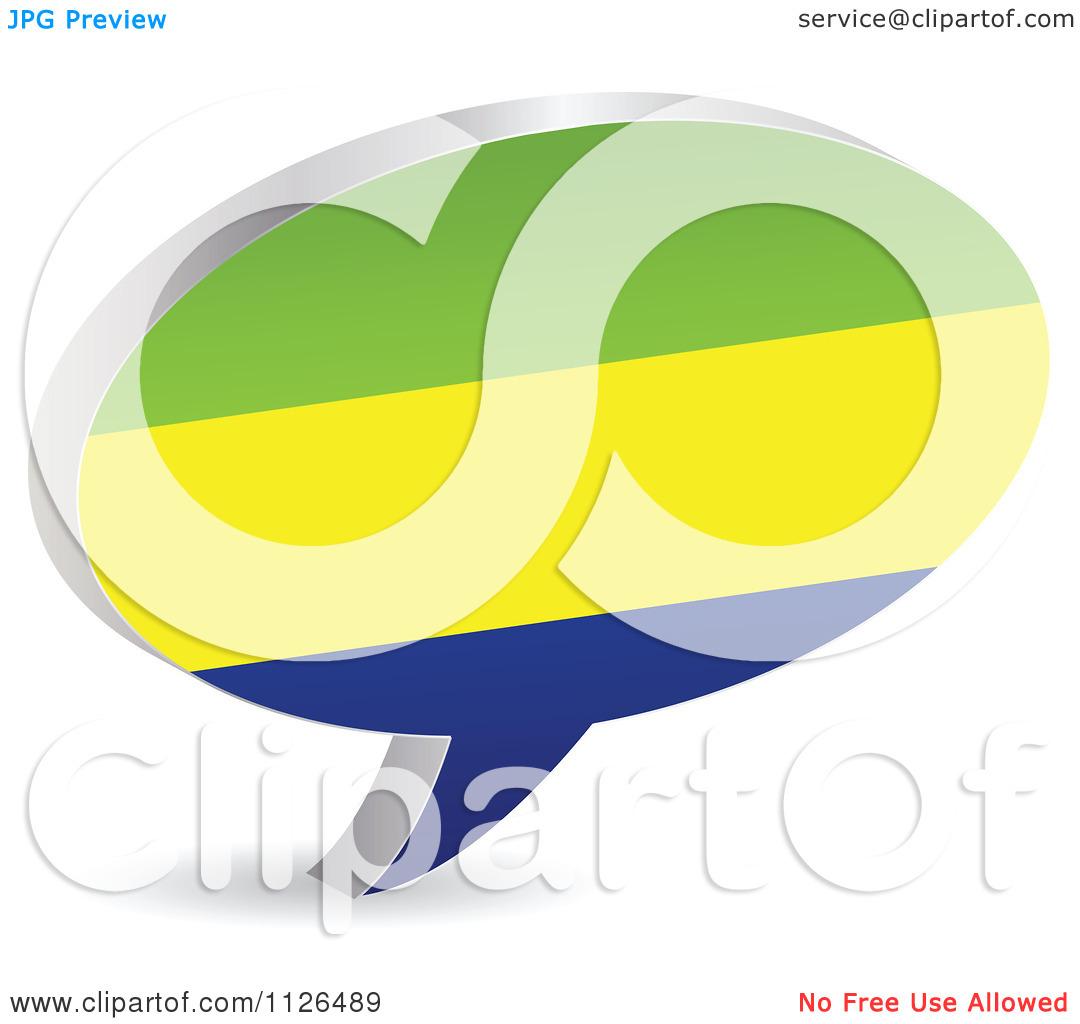 Clipart Of A 3d Gabon Flag Chat Balloon.