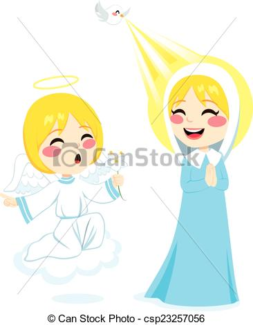 Clipart Vector of Gabriel Announcing Mary.