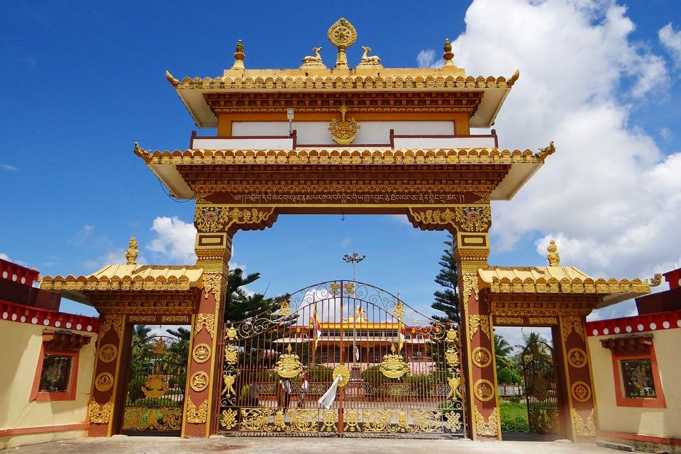 Free photo: Gaden Jangtse Monastery, Gate.