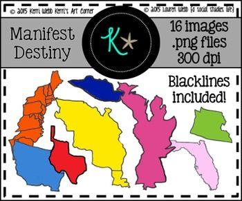 Manifest Destiny Territories Clip Art.