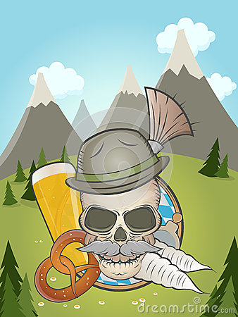 Skull With Hat And Bavarian Gamsbart Stock Images.
