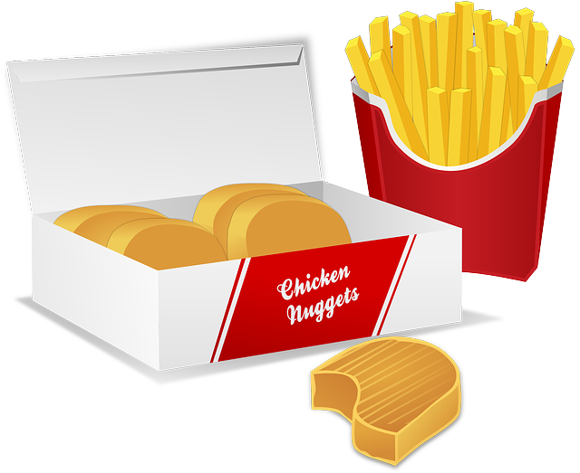 Free vector graphic: Chicken Nuggets, Potato Chips.