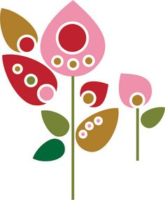 Sticker retro flowers.