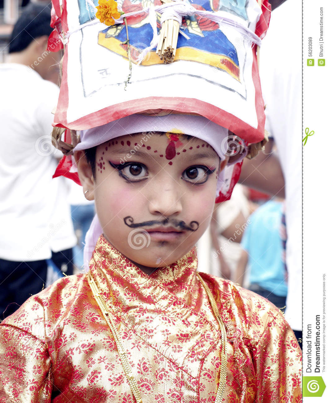 A Young Girl In Festival Of Cows.