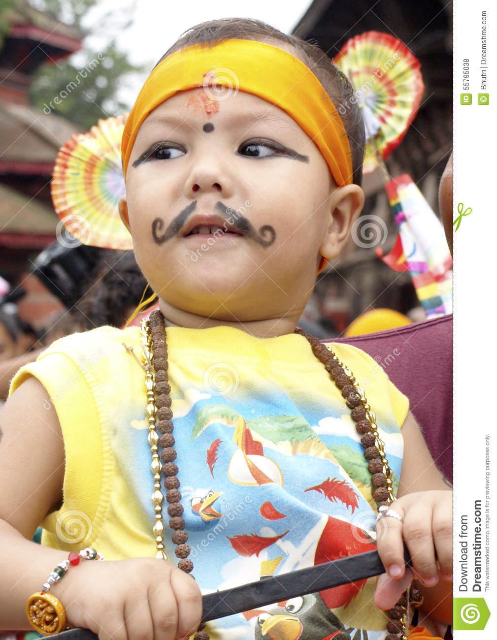 Young Boy In Festival Of Cows( Gaijatra) Editorial Stock Photo.