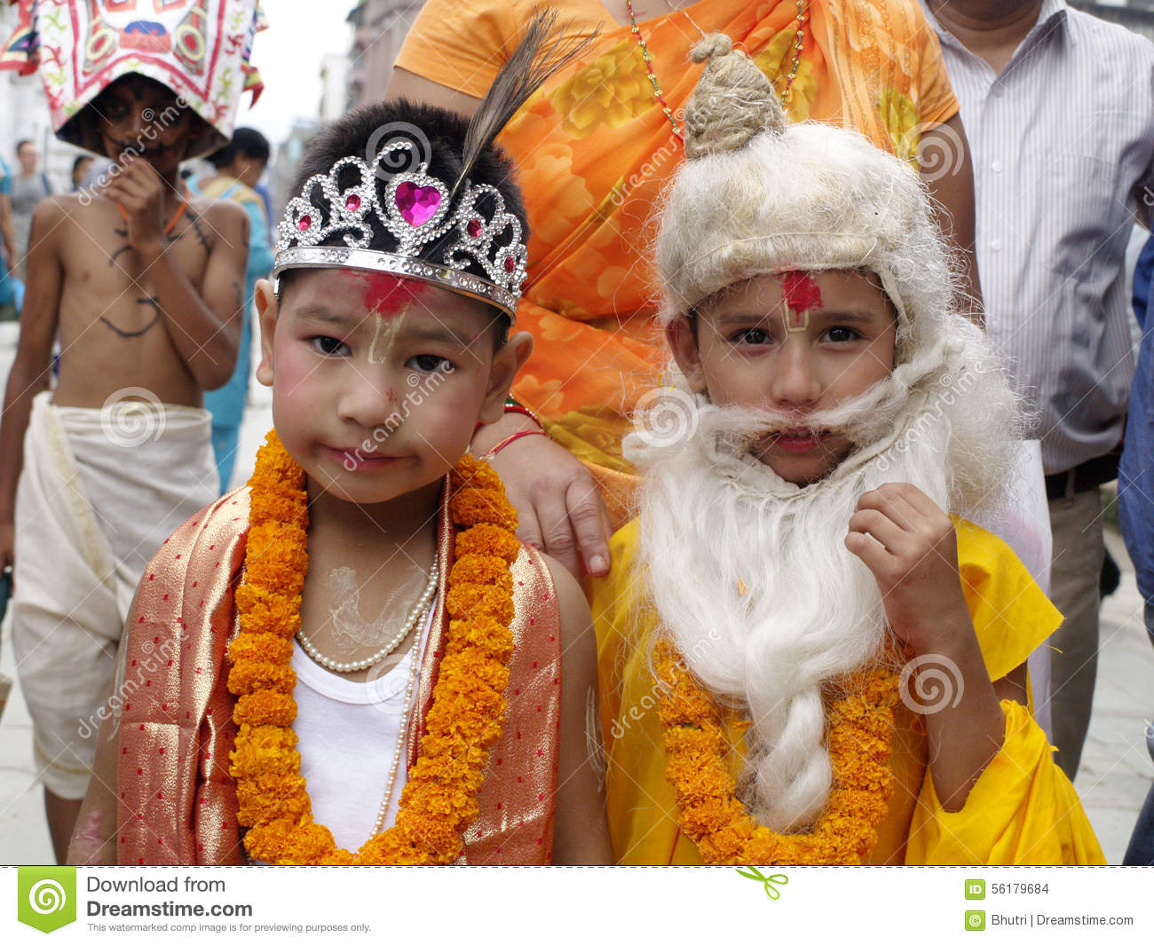 Young Kids In Festival Of Cows( Gaijatra) Editorial Stock Image.