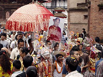 A Young Boy In Festival Of Cows( Gaijatra) Editorial Image.