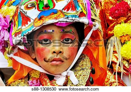 Stock Photography of On the day of Gai Jatra festival in August at.
