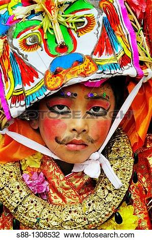 Stock Photo of On the day of Gai Jatra festival in August at.