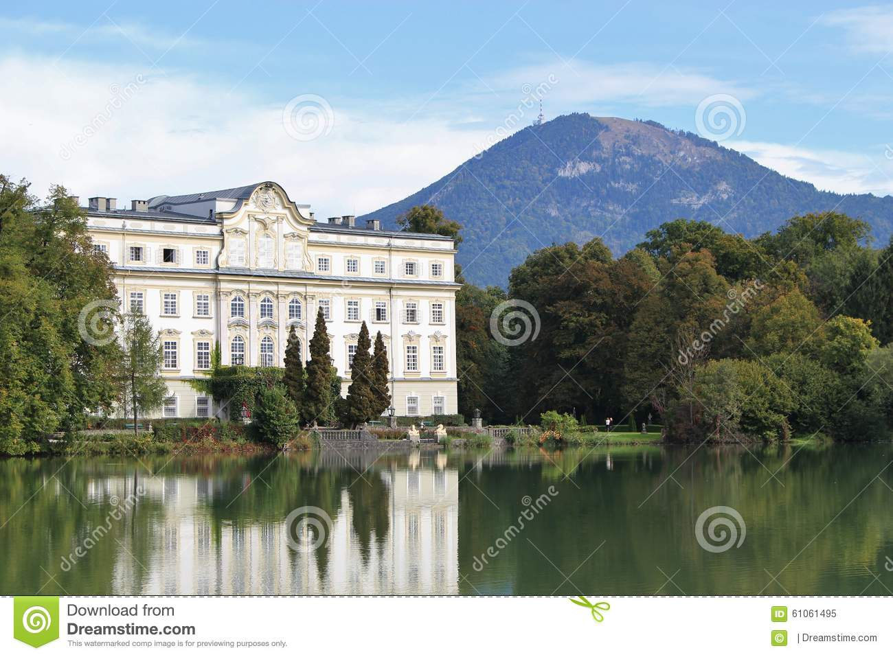 Leopoldskron Palace In Salzburg, Austria, Europe, With Gaisberg.