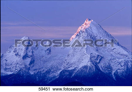 Stock Photography of Panoramic view of mountain range, Watzmann.
