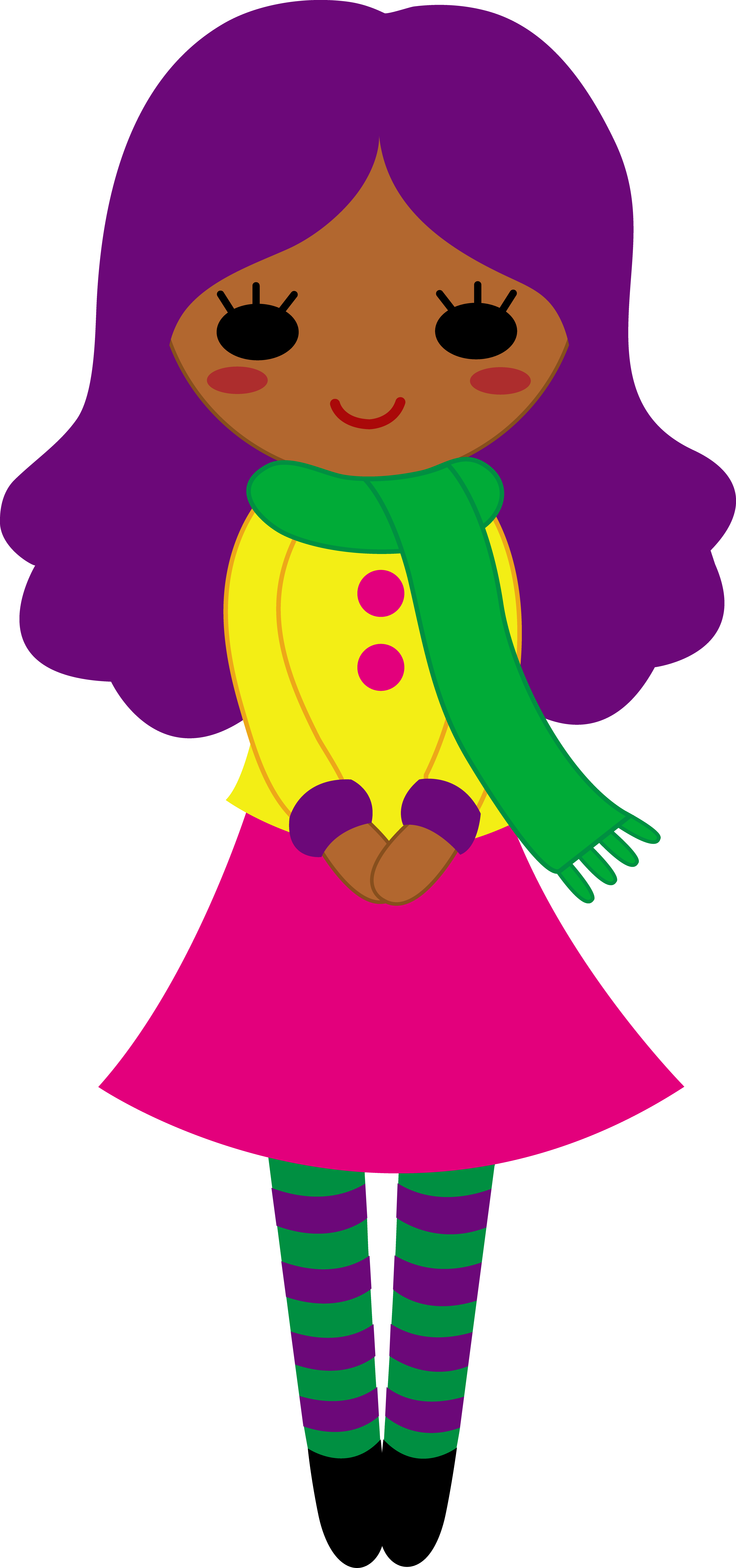 Clipart girl with purple hair.