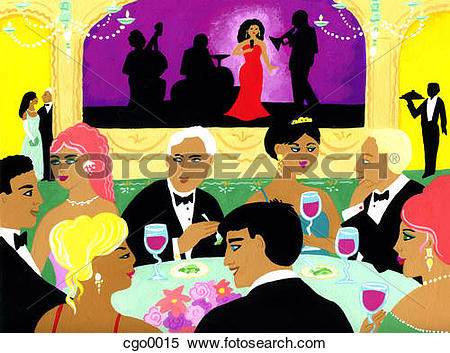 Stock Illustration of A gala dinner with a singer perfomring on.
