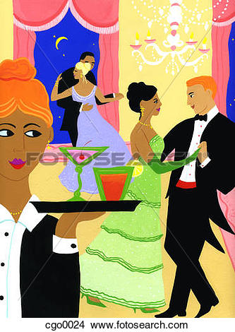 Drawings of Couples ballroom dancing at a gala event cgo0024.