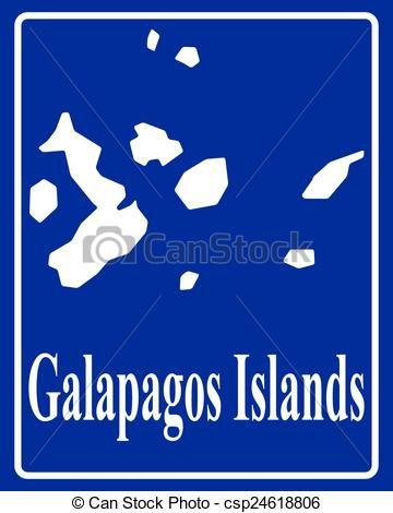 Vector Clipart of silhouette map of Galapagos Islands.