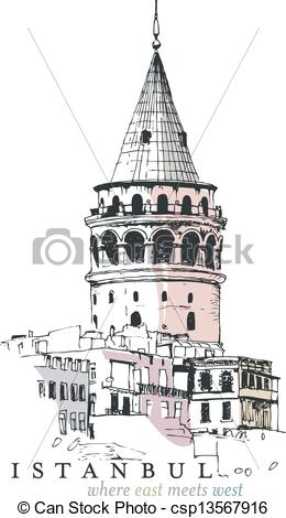 Vector Clip Art of Galata Tower Drawing.