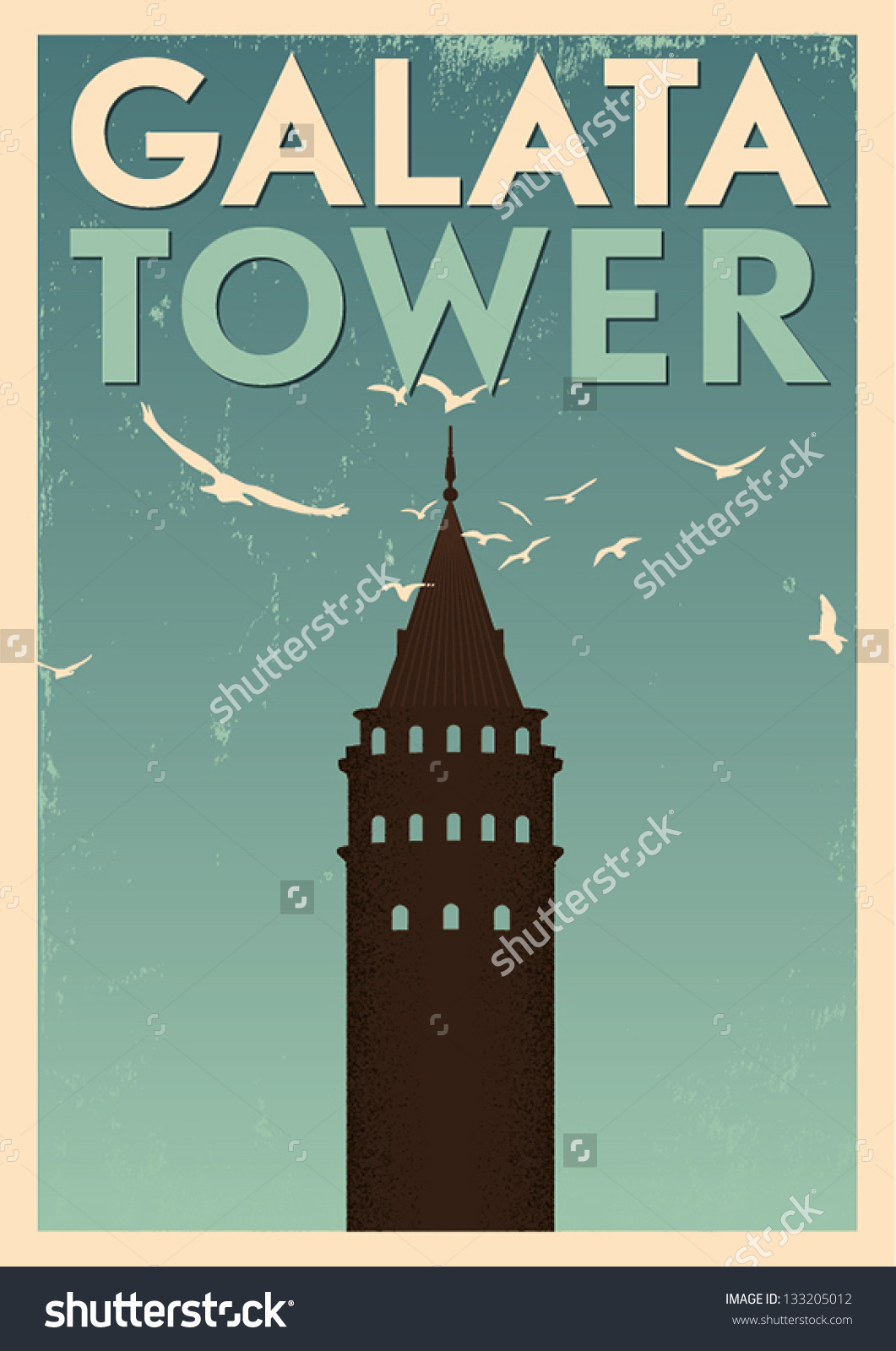 Galata Tower Vintage Poster Stock Vector 133205012.
