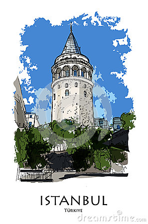 Galata Tower Drawing Stock Illustrations.