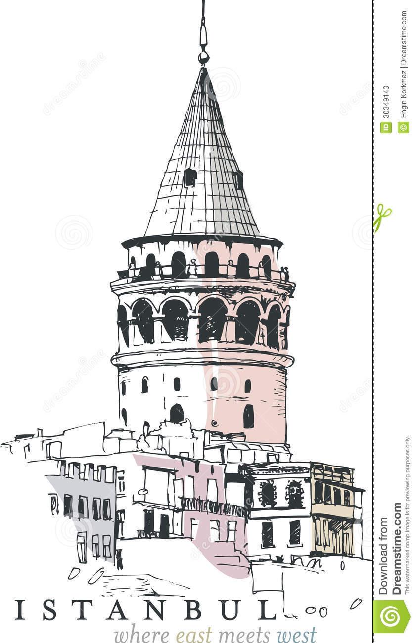 Galata Tower Drawing Stock Photos.