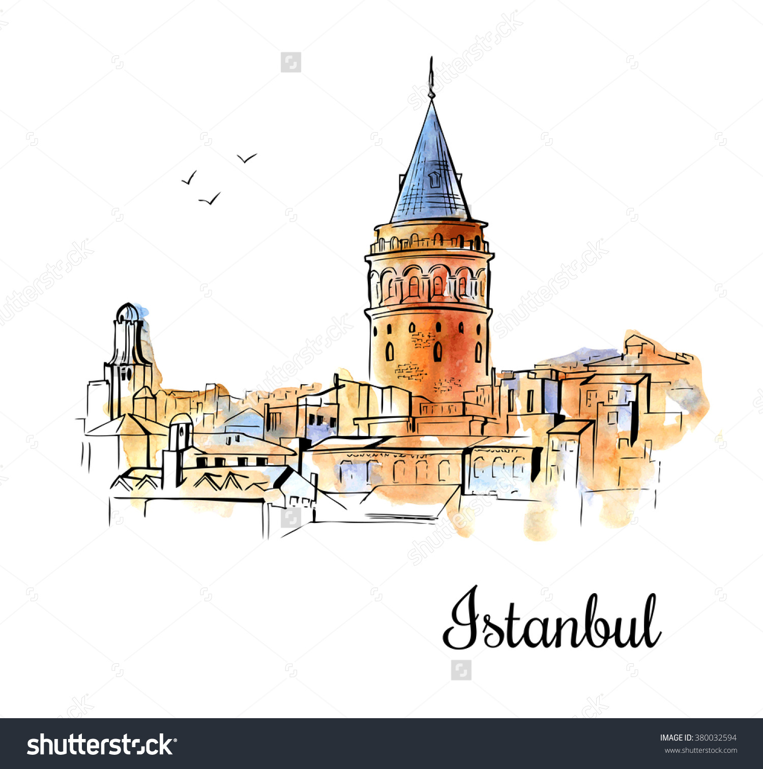 Vector Sketchy Illustration Silhouette Galata Tower Stock Vector.