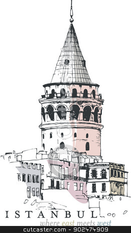 Galata Tower Drawing stock vector.