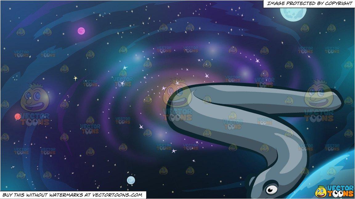 A Sleek Electric Eel and Galaxy Background.