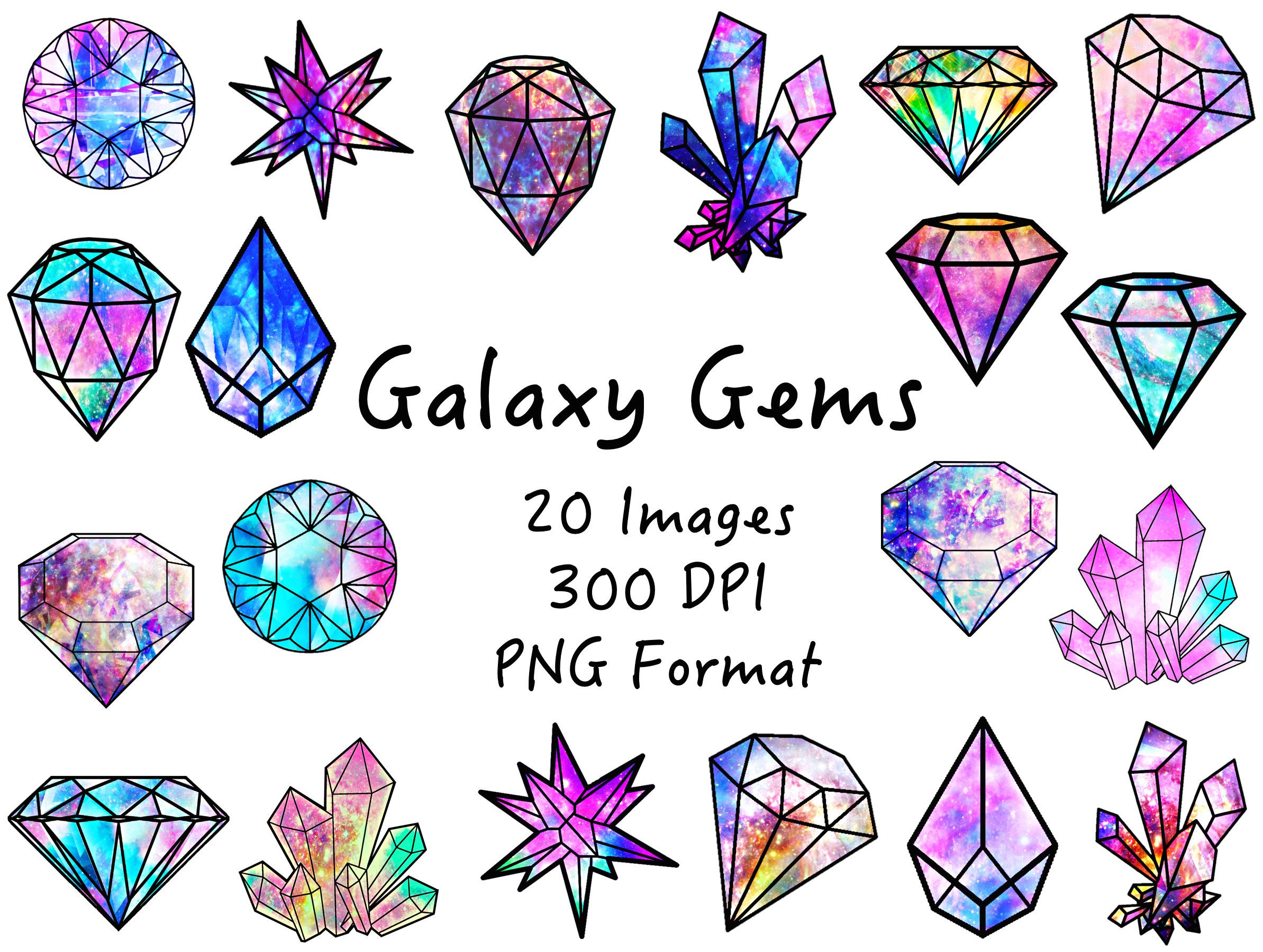 Galaxy Gems Clipart, Gems png Crystals png Galaxy Clipart.