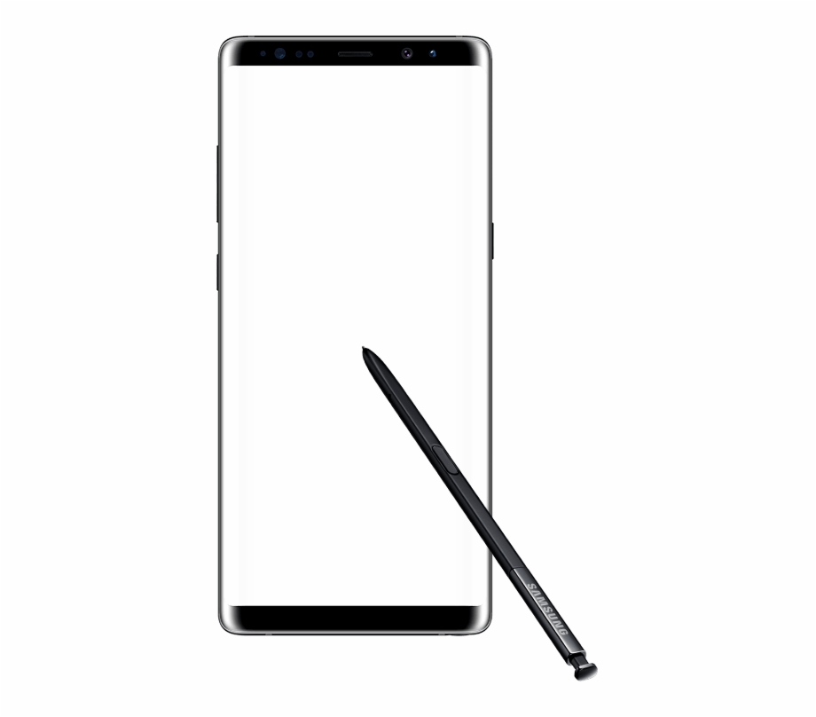 Front View Of A Semitransparent Galaxy Note8 In Landscape.