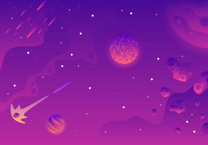 Galaxy Background Landscape Vector.