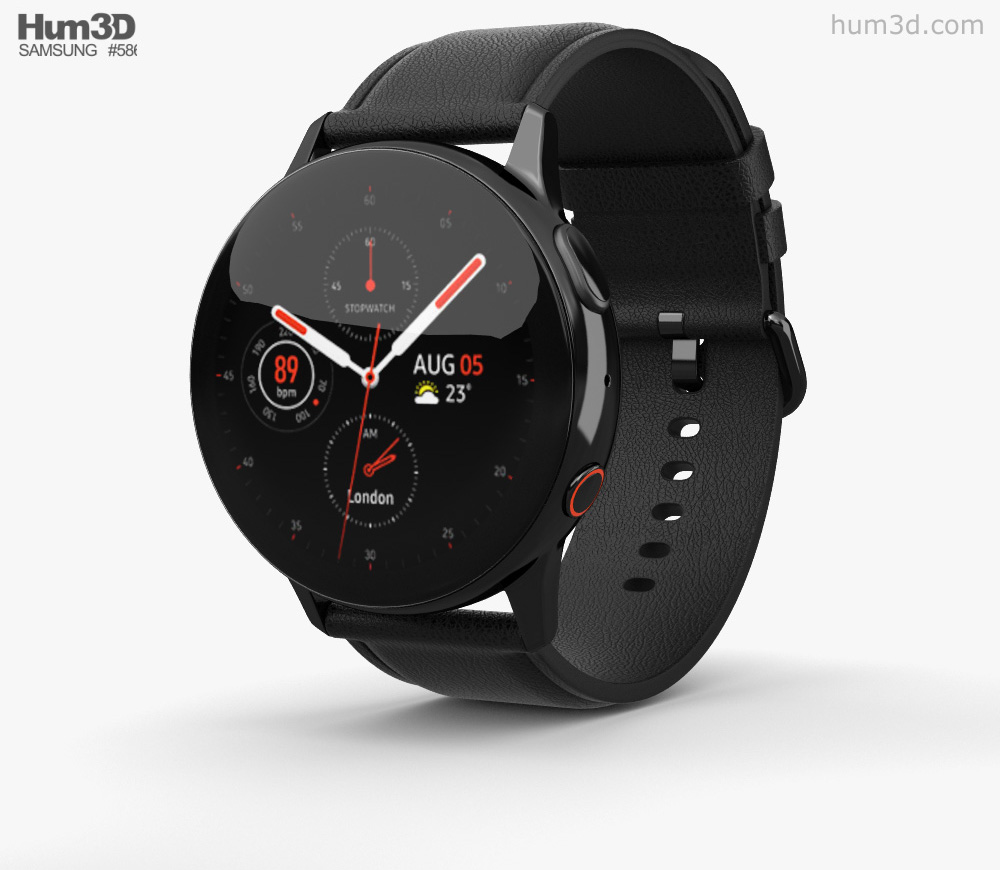 Samsung Galaxy Watch Active 2 40mm Stainless Steel Black 3D model.