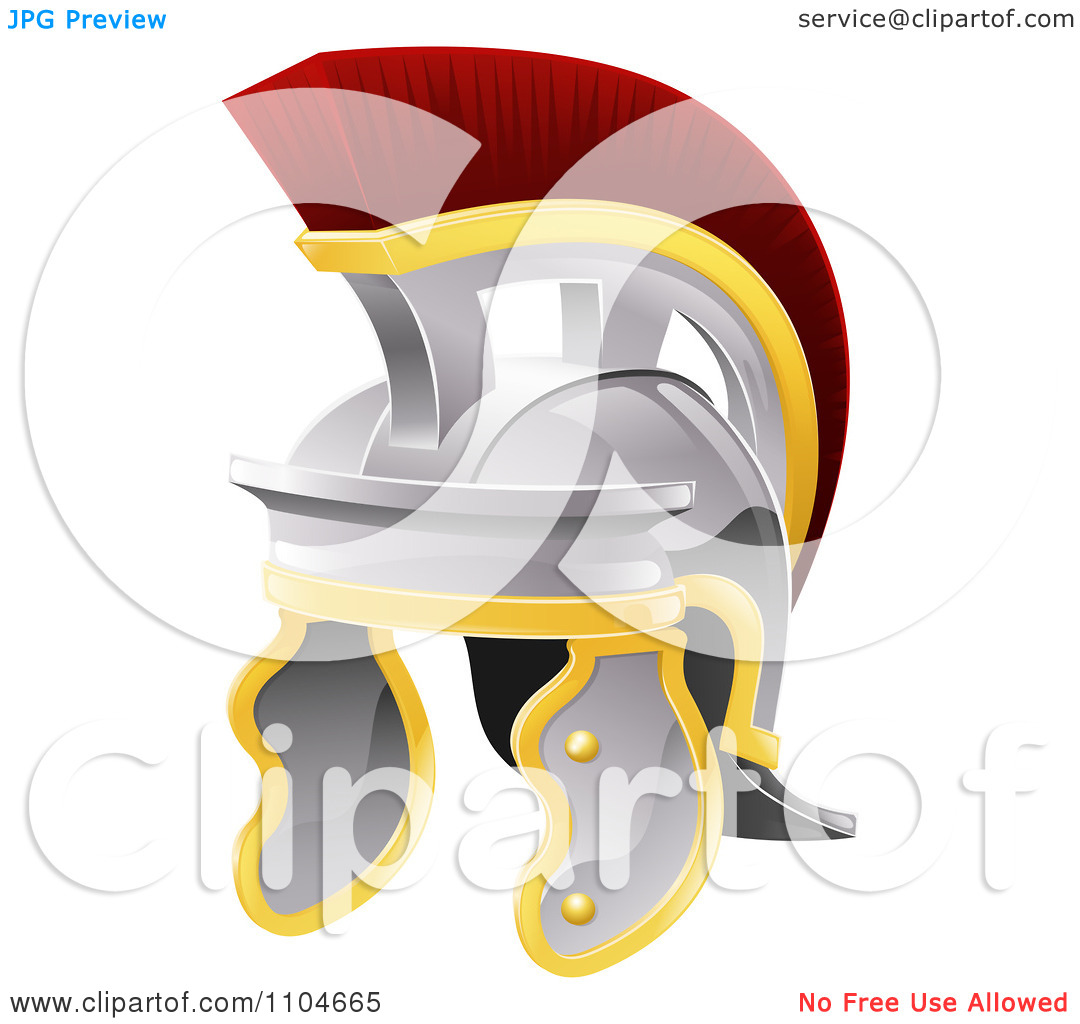 Clipart Red Crested Galea Style Helmet.