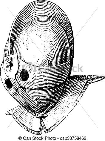 Clip Art Vector of Gladiator helmet of galea vintage engraving.