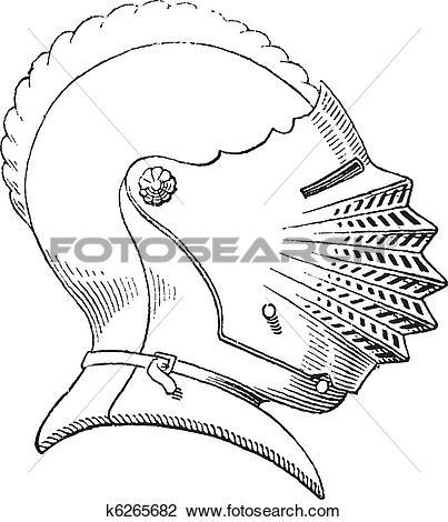 Clipart of Fifteenth century helmet or galea vintage engraving.
