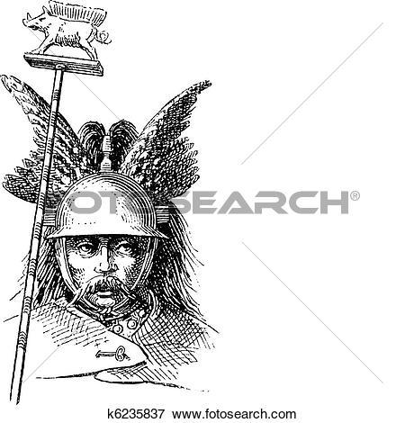 Clip Art of Norman helmet or galea vintage engraving k6235837.