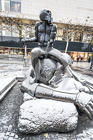 Contemporary Sculpture David And Goliath At Zeil. Editorial Stock.