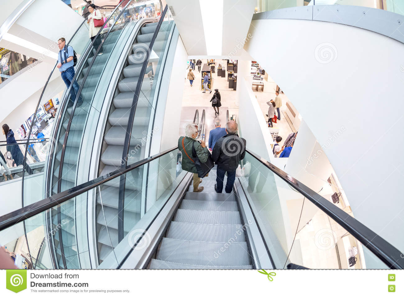 Escalator In The Galeria Kaufhof Shopping Center, Frankfurt Main.