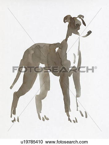 Stock Photography of Galgo, Water Color Painting u19785410.