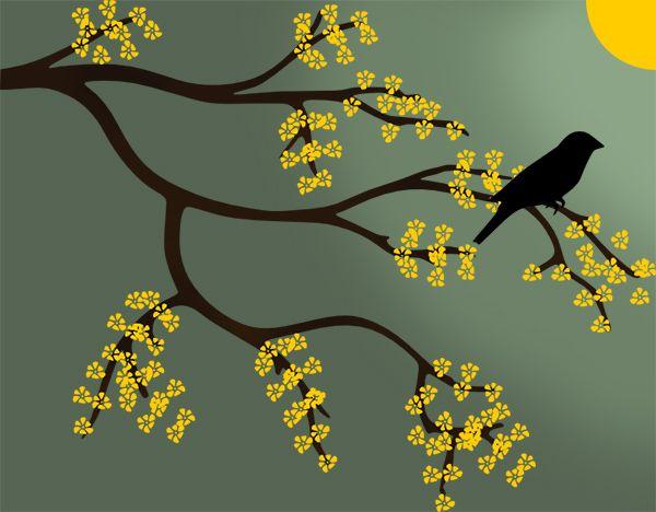 Desenho de galho de árvore + pássaro + flores amarelas.
