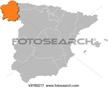 Clip Art of Map of Spain, Galicia highlighted k9785217.