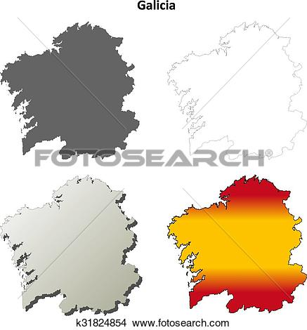 Clipart of Galicia blank detailed outline map set k31824854.
