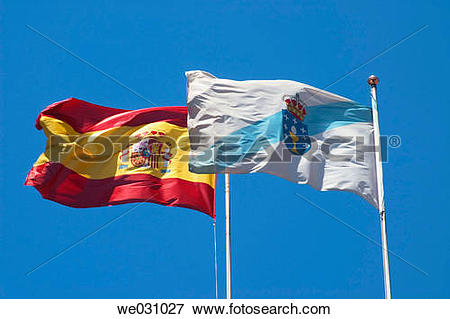 Picture of Spanish and Galician flags. La Coru±a, Galicia, Spain.