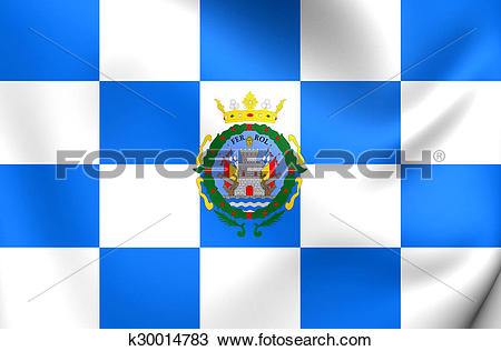 Drawing of Flag of Ferrol City (Galicia), Spain. k30014783.