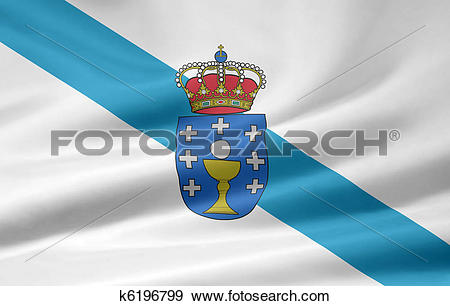Stock Illustration of Flag of Galicia.