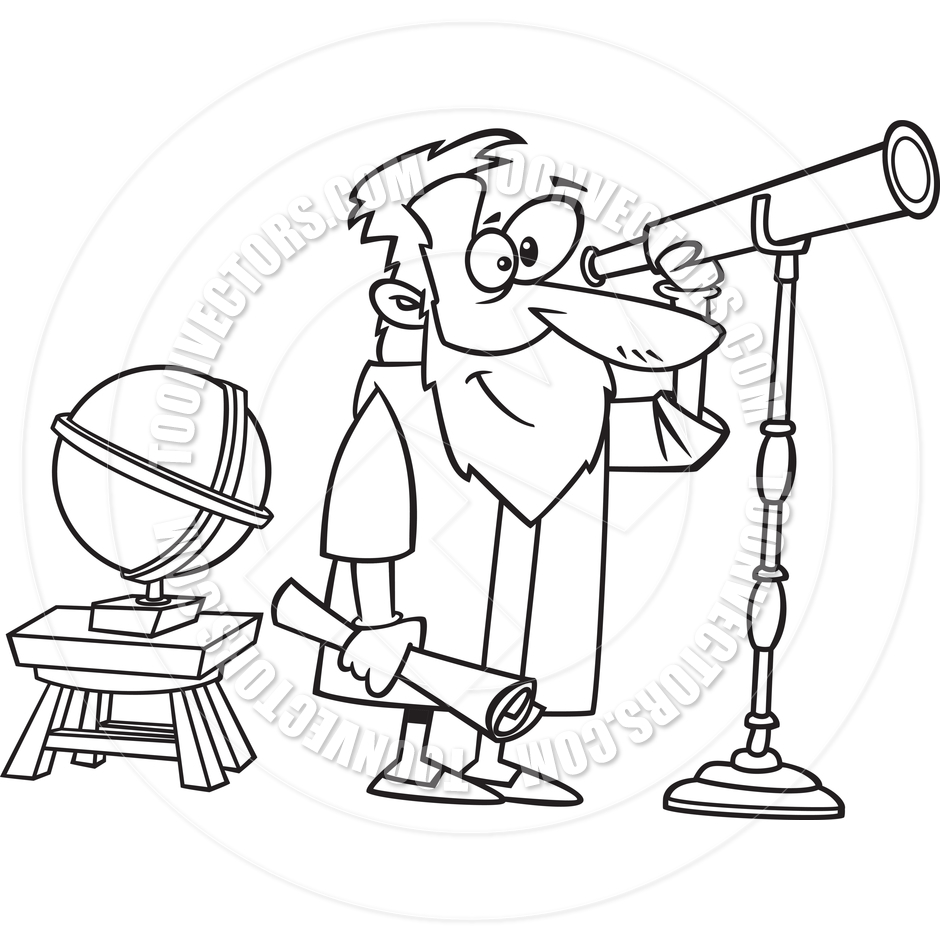 Cartoon Astronomer Galileo (Black & White Line Art) by Ron.