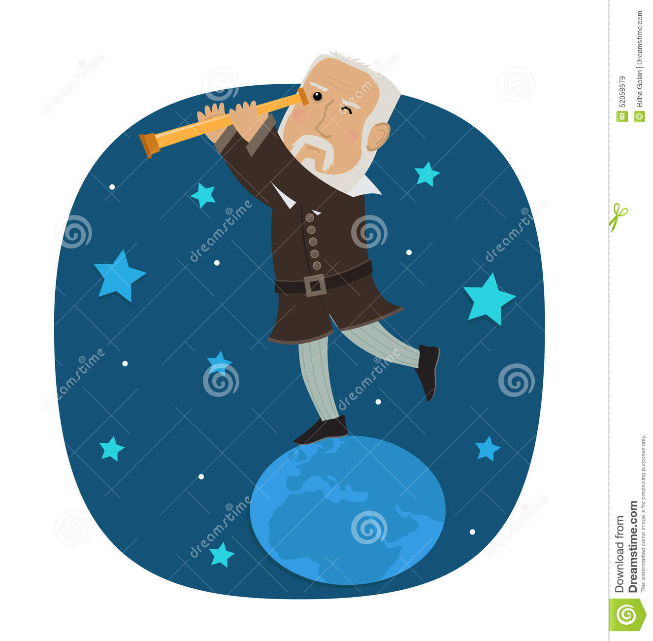 Galileo Galilei Stock Vector.