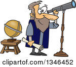 Clipart Arabian Man Using A Telescope To View The Stars.